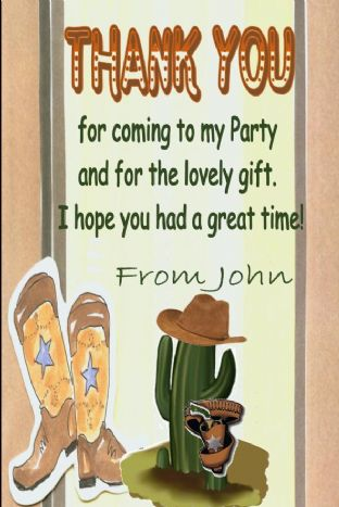 Personalised Wild West / Cowboy Theme Thank You Cards